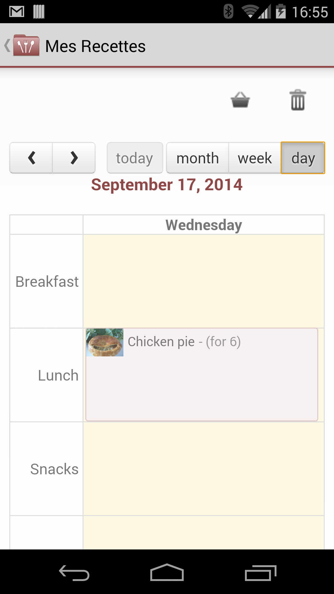 plan your meals into breakfast lunch snacks dinner sections