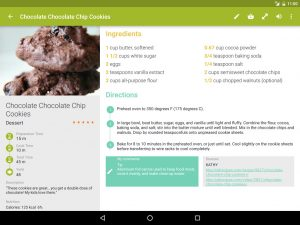 Tablet recipe view